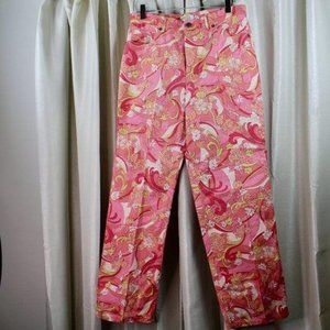 TALBOTS Pink Floral Straight Leg Stretch Jeggings